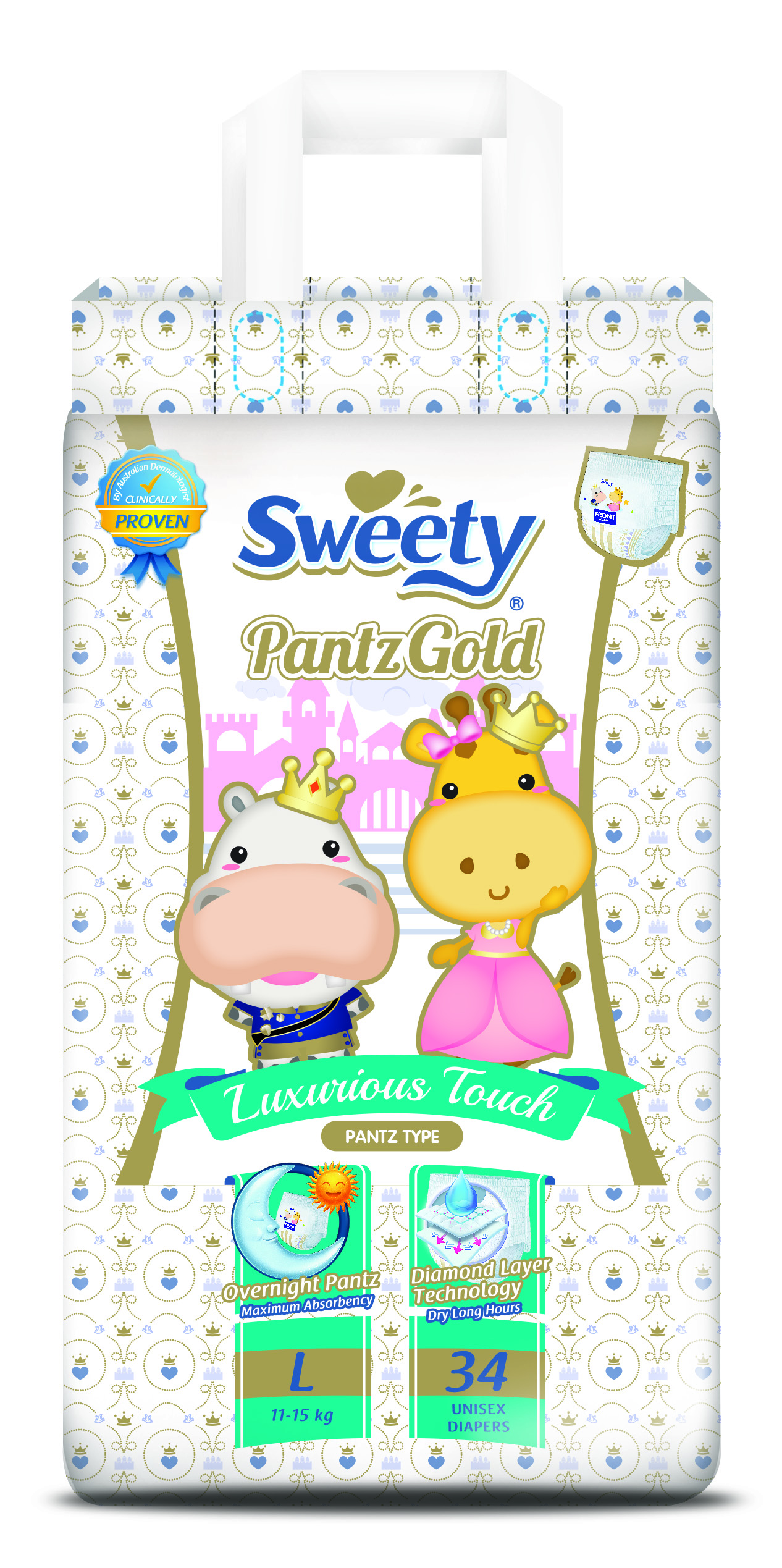 Трусики SWEETY Pantz Gold L34 (11-15кг)