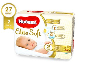 Подгузники HUGGIES Elite Soft 2 (3-6 кг), 27 шт