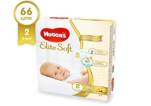 Подгузники HUGGIES Elite Soft 2 (3-6 кг), 66 шт