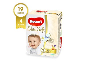 Подгузники HUGGIES Elite Soft 4 (8-14 кг), 19 шт