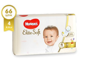 Подгузники HUGGIES Elite Soft 4 (8-14 кг), 66 шт