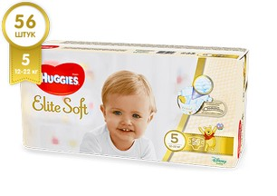 Подгузники HUGGIES Elite Soft 5 (12-22 кг), 56 шт